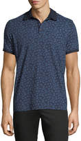 Neiman Marcus Leaf-Print Short-Sleeve Polo Shirt