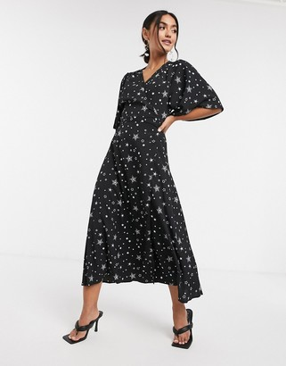 Liquorish kimono wrap dress in star print