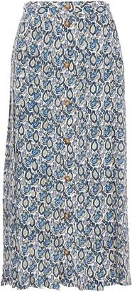 Victoria Beckham Pleated Printed Silk-georgette Midi Skirt