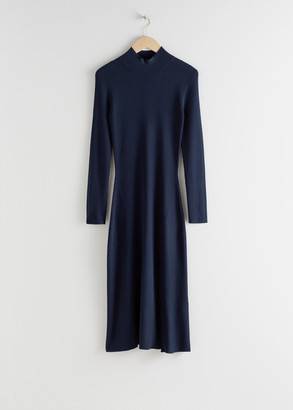 And other stories Ribbed Turtleneck Midi Dress