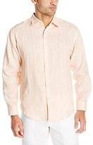Cubavera Men's Embroidery Detailed Solid Linen Long Sleeve Woven Shirt