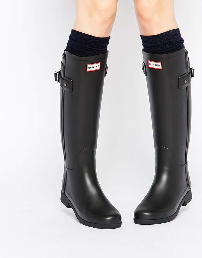 Hunter Refined Back Strap Black Wellington Boots