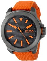 HUGO BOSS BOSS Orange Men's 1513010 New York Stainless Steel Watch with Orange Woven Band