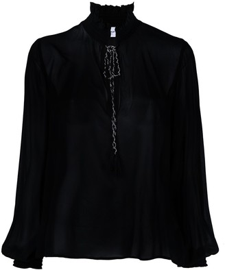Dondup Ruffled Neck Satin Blouse