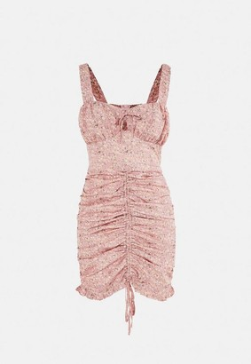 Missguided Blush Floral Print Ruched Lace Up Mini Dress