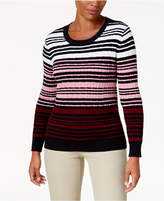 Karen Scott Cotton Striped Cable-Knit Sweater, Created for Macy's