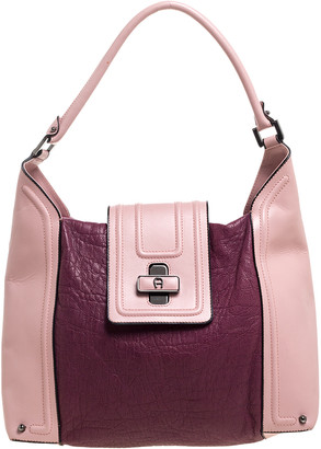Aigner Bicolor Leather Turnlock Flap Hobo