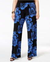 Alfani Plus Size Printed Wide-Leg Soft Pants, Only at Macy's