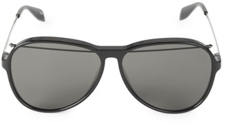 Alexander McQueen 61MM Unisex Brow Bar Aviator Sunglasses