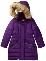 Catherine Malandrino Faux Fur Trimmed Hooded Long Bubble Jacket (Little Girls)