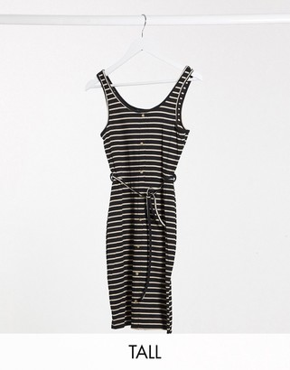 Brave Soul Tall pallas striped button through jersey dress with tie waist in black