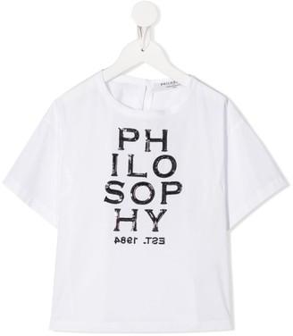 Philosophy Di Lorenzo Serafini Kids sequin logo crew-neck T-shirt