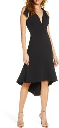 Harlyn Plunge Neck Bow Shoulder High/Low Cocktail Dress