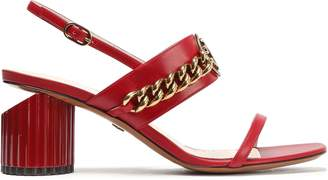 Roberto Cavalli Logo-embellished Leather Slingback Sandals