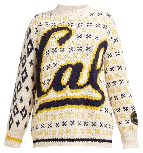 Calvin Klein Berkeley Logo Intarsia Wool Blend Sweater - Womens - Beige Multi