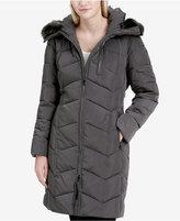 Calvin Klein Faux-Fur-Trim Hooded Chevron Down Puffer Coat, A Macy's Exclusive