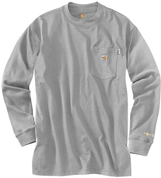 Carhartt Big Tall Flame-Resistant Force(r) Cotton Long Sleeve T-Shirt (Light Gray) Men's Clothing