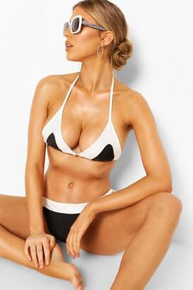 boohoo Contrast Tie Side Bikini