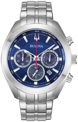 Bulova Men's 96B285 Classic Chrono Blue Dial Stainless Bracelet Watch - Silvertone