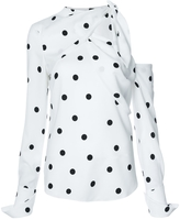 Monse Cold Shoulder Polka-Dot Blouse