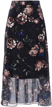 Markus Lupfer Floral-print Devore-chiffon Midi Skirt