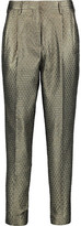 Etro Cropped Metallic Jacquard Slim-Leg Pants
