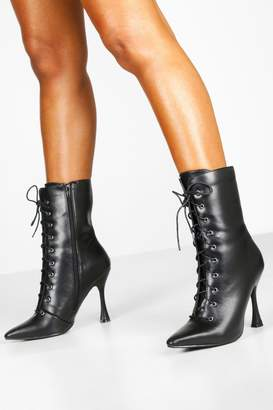 boohoo Interest Heel Lace Up Shoe Boots