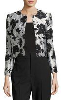 Monique Lhuillier Floral Cloque Jacquard Cropped Jacket