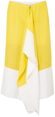 Marques Almeida Draped Two-tone Crepe De Chine Midi Skirt