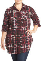 Sejour Plaid Georgette Tunic Shirt (Plus Size)