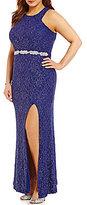 Jodi Kristopher Plus High Neck Embellished Waist Long Lace Dress
