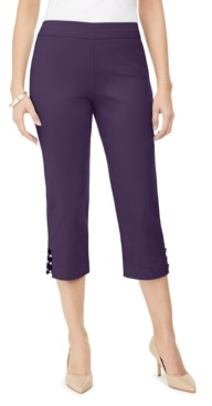 JM Collection Petite Lattice-Hem Cropped Pants, Created for Macy's