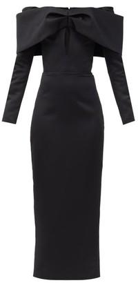 Rasario Bow-embellished Off-the-shoulder Satin Dress - Black