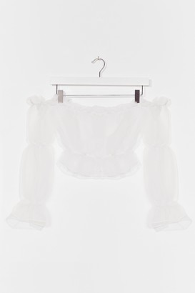 Nasty Gal Womens You're So Transparent Off-the-Shoulder Top - White