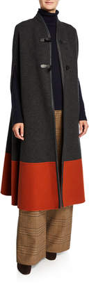 Loro Piana Cashmere Colorblock Cape with Leather Latch-Front