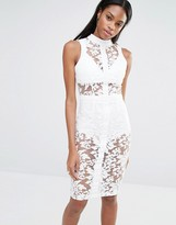 Missguided High Neck Sleeveless Premium Lace Bodycon Dress