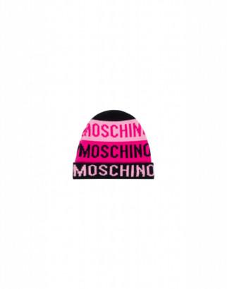 Moschino Knit Hat Pink Logo