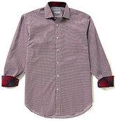 Thomas Dean Geo Print Long-Sleeve Dobby Woven Shirt