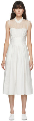 Renli Su White Silk Smock Neck Dress