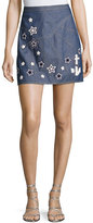 Andrew Gn Star-Embroidered Denim Skirt