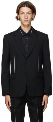 Alexander McQueen Black Wool Slashed Blazer