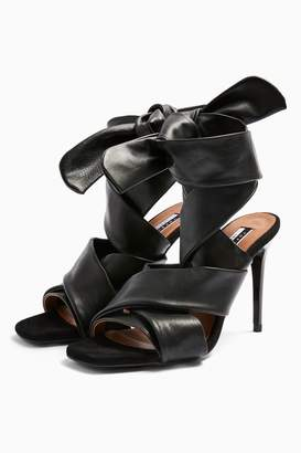 Topshop Womens Rico Leather Black Strap Heels - Black