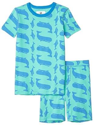 J.Crew crewcuts by Whale Short Sleeve Sleep Set (Toddler/Little Kids/Big Kids) (Blue/Green) Boy's Pajama Sets