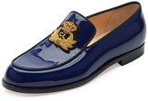 Christian Louboutin Laperouza Patent Crest Loafer, Encre/Gold