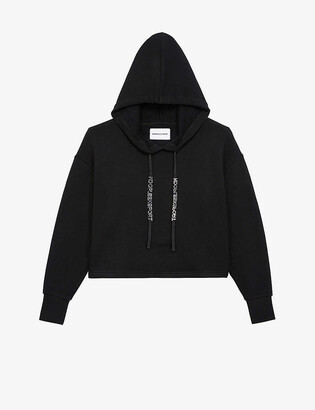 The Kooples Sport Logo-back cropped cotton and modal-blend hoody
