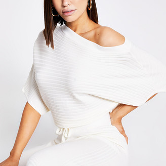 River Island Cream off the shoulder rib knitted jumper
