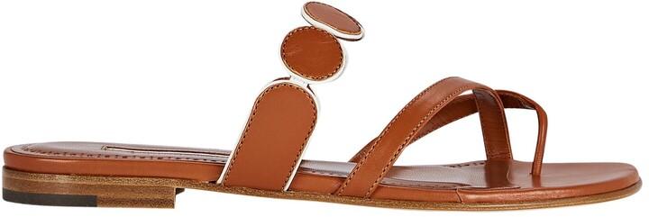 Manolo Blahnik Harisa Flat Leather Sandals