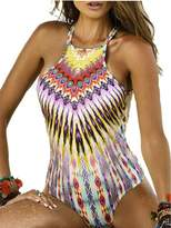 Blooming Jelly Women's Tropical Tribal Print One Piece Swimsuit Bathing Suit
