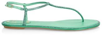 Rene Caovilla Diana Crystal-Embellished Satin T-Strap Sandals