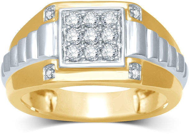 JCPenney FINE JEWELRY Mens Diamond-Accent Two-Tone 10K Gold Ring